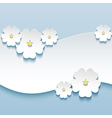 Floral background greeting card with 3d flowers vector