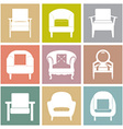 Sofas icons set on square background vector