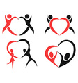 Abstract people heart symbol vector