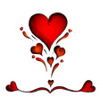 Red hearts isolated on the white vector