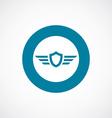 Shield wings icon bold blue circle border vector