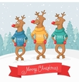 Three deer dance winter forest landscape postcard vector