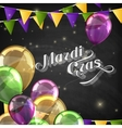 Mardi gras label with festive flags and balloons vector