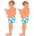 Happy cartoon man standing in blue underwear vector