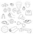 Hand drawn set of fitness accessories dumbbells vector