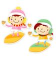 Snowboarding to play boys and girls winter season vector