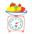 Healthy eating - scales with apples vector