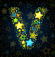 Letter v cartoon star colored vector