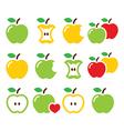 Green and yellow apple apple core bitten half vector
