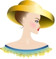 Lady in yellow hat and dress with ruches vector