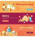 Set of flat design concepts for dishes and cuisine vector