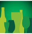 Overlay beer bottle and glass st patricks day card vector