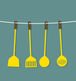 Flat design set of utensils hang on a rope vector