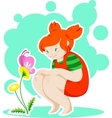 Girl and butterfly on the flower vector