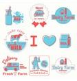 Dairy badges color vector