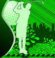 Golf urban grunge poster with player silhouette vector