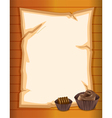A stationery paper with chocolate cupcakes vector
