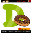 Letter d with donut cartoon vector