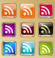 Colored buttons with rss sign vector