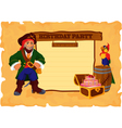 Birhday party card with pirate vector