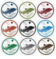 Set of emblems with white fish vector