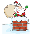 Santa claus in chimney waving vector