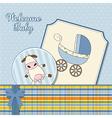 Baby boy announcement card vector
