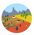 Autumn landscape for mountain farm vector