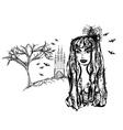 Halloween witch - doodle grunge portrait vector