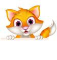 Cute cat cartoon holding blank sign vector