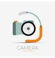 Camera company logo minimal design vector