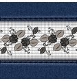 Denim horizontal background with black lace ribbon vector