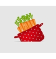 Red pot with carrots organic diet healthy food vector