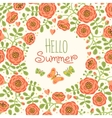 Season card hello summer with cute flowers and vector