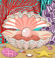 Seashell with pearl underwater vector