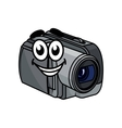 Happy gray cartoon video camera vector
