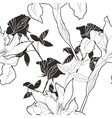 Black and white seamless pattern with flowers-10 vector