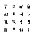 Sixteen black computer icons isolated on white vector