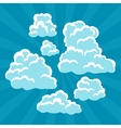 Set of cartoon clouds on sky and rays vector
