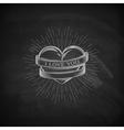 Heart ribbon and burst light rays emblem vector