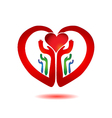 Hands holding a heart icon vector