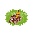 Male gardener riding lawn mower vector