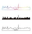 Berlin skyline linear style with rainbow vector
