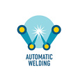 Automatic welding logo template letter w vector