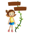 A girl at the back of a two-plank signboard vector