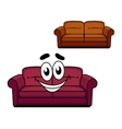 Happy cartoon upholstered couch vector