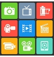 Colorful media icons for web and mobile vector