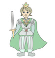 Funny cartoon prince on white background vector