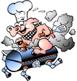Hand-drawn of an chef pig riding an bbq barrel vector