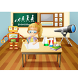 A girl writing inside a science laboratory room vector